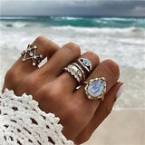 docona Boho Vintage Silver Gold Starfish Flower Crystal Ring Set for Women Rhinestone Geometric Midi Ring Set Anillos