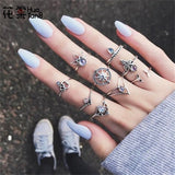 HuaTang Antique Gold Silver Star Crystal Ring Carved Knuckle Wedding Ring Set Boho Flower Rings For Women Anillos 9 Pcs/Set 4256