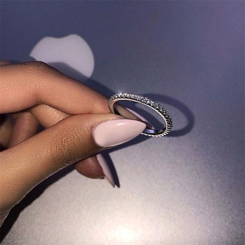 2019 Big Cubic Zirconia Ring Fashion Wedding Jewelry Female Engagement Ring Female Crystal Silver Ring Party New Gift