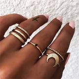 IPARAM Bohemian Vintage Gold Crescent Geometric Joint Ring Set for Women Crystal Personality Design Ring Set Party Jewelry Gift