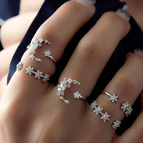 White Crystal Carving Ring 5pcs Silver Color Heart Ring Set Drop of Crystal Adjustable midi Ring anillos anel Rings For Women