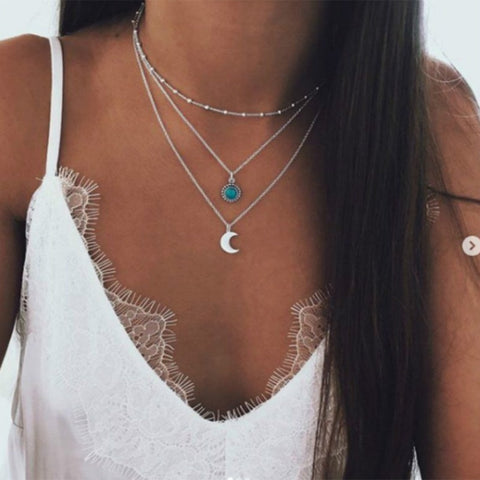 Bohemian jewelry 2018 new fashion pop jewelry moon three-layer multi-layer necklace female wholesale
