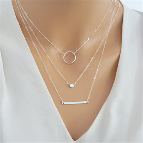 2018 Fashion Maxi Statement Multilayer Necklace Multi-element Metal Rod Circles Geometric Round Chokers Necklaces Women Jewelry