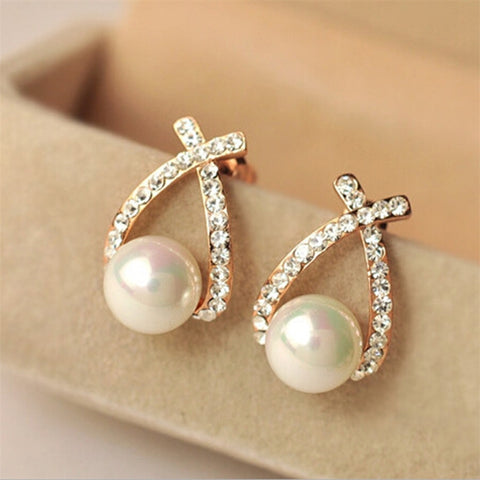 2018 Korea Hottest Fashion Cross Brincos Oorbellen Bijoux Simulated-pearl Rhinestone Crystal Stud Earrings For Women Jewelry