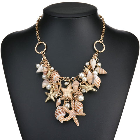 Women Necklace Starfish Shell Pendant Nacklace Bohemia Beaches Summer Long Chain Statement Necklace&Charm Bracelet Jewelry Women