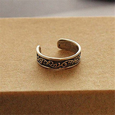 Boho Beach Jewelry Vintage Retro Antique Silver Beach Totem Retro Ring Set Ethnic Carved Adjustable Open Toe Ring Finger Foot