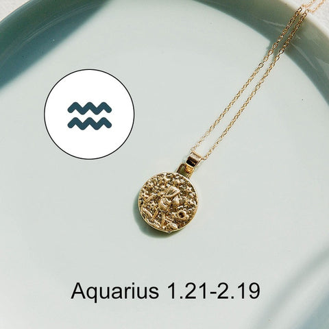 12 Constellation Jewelry Necklace Gold Virgo Libra Scorpio Sagittarius Capricorn Aquarius Zodiac Necklace Circle Pendant bijoux