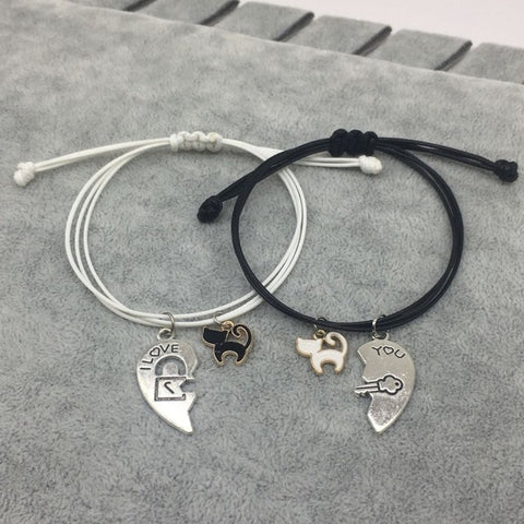 New Fashion Couple Bracelet Stitching Heart Bracelets Women Cute Cat Pendant Romantic Valentine's Day present for Lovers