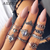 AILEND10pcs/ set of vintage rings ladies hollow carved large gem lotus style ring set Bohemian popular new jewelry party gift