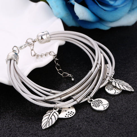 2019 Fashion Silver Charm Leaves Tibetant Silver Multilayer Bracelets For Women Pulseiras Pendant Handmade Bracelets & Bangles