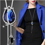 BYSPT Collier Femme Long Gray Crystal Necklaces & Pendants for Women Round Statement Necklace Maxi Colar Chain Fashion Jewelry