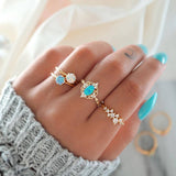4 Pcs/set Women Simple Gems Geometric Crystal Leaves Golden Finger Ring Set Fashion Party Wedding Jewelry Gift Accessories