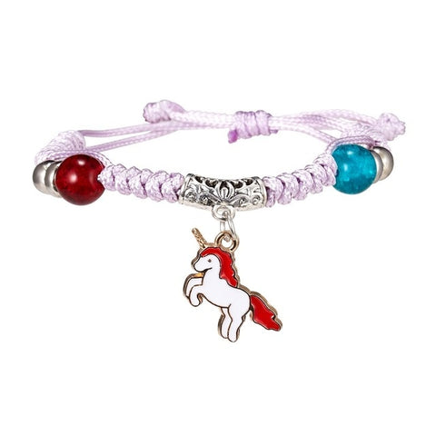 Rinhoo Handmade Adjustable Woven Bracelet Horse/Shell/Starfish/Moon Bead Rope Chain Bracelet Accessories Gift For Kids