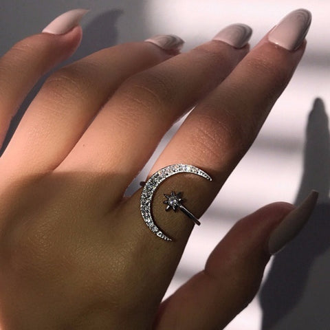 Cute Moon and Star Adjustable 925 Sterling Silver Rings with Zircon Bling Stone for Women Fashion Wedding Engagement Jewelry 1
