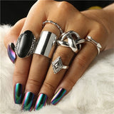Docona Bohemia 6pcs/set Vintage Silver Finger Ring Exaggerated Big Knuckle Midi Rings Sets Fashion Finger Jewelry Femme 3450