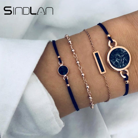 Sindlan 4PCs Cool Black Rectangle Charm Bracelet Sets Handmade Wrist Chain Fashion Wrist Jewelry Bracelets for Women Bangles