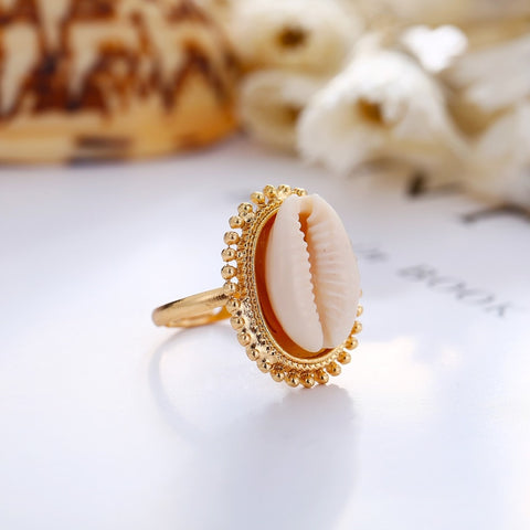 Rinhoo Bohemian Gold Zinc Alloy Natural Sea Shell Ring for Women Summer Beach Party Finger Rings Female Charm Jewelry