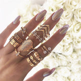 Retro Geometric Ring Set Bohemian Ring Suitable for Women Fashion Rings Joint Rings National Wind Jewelry Party Gifts