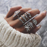Fashion Alloy Vintage Ring Boho Variety Ladies Ring Multi-element Combination Ring Set For Girl Gift 2019