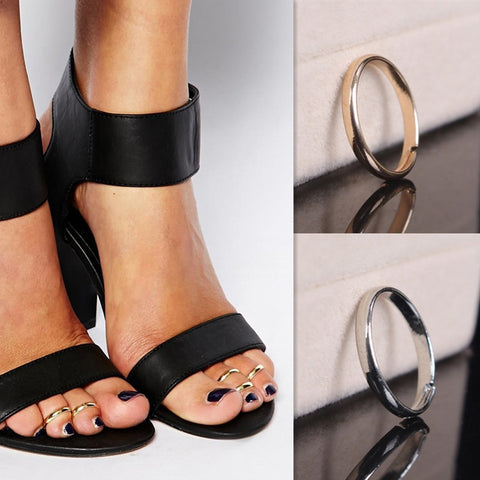 Simple Style Silver Toe Ring Foot Beach Jewelry Metal Adjustable Open Jewelry For Women Girls