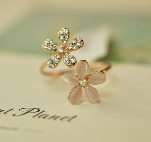 New Hot Fashion Opal flower water Crystal opening adjustable ring for female Free Shipping