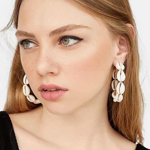 JURAN New Design Sea Shell Dangle Earring Metal Geometric Big Round Circle Shell Long Drop Earrings For Women Beach Boho Jewelry