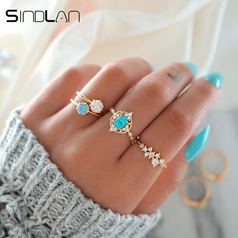 Sindlan 4PCs Blue Charm Ring Gold Crystal Rings Set Elegant Lady Finger Ring Party Vacation Jewelry Accessories Boho Rings