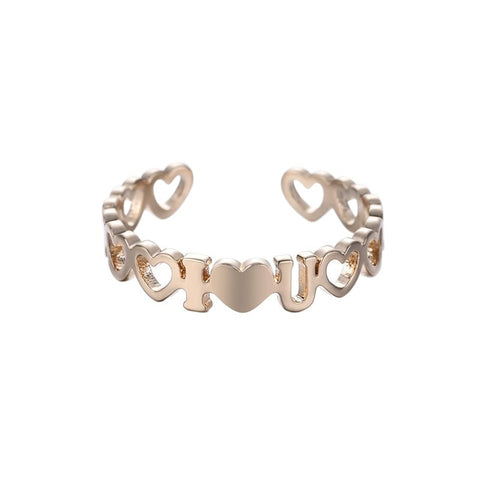 QIAMNI Gold Color Star BEST FRIEND Number Heart Infinite Stackable Finger Ring Cocktail Geometric Toe Foot Ring Bague Femme