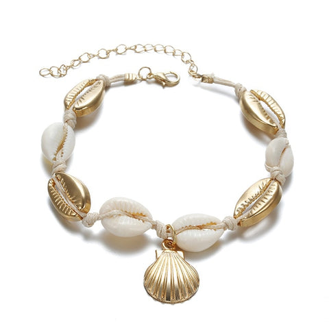 Vintage Gold Color Anklet Women shell sequins Beads Geometric Bracelet Charm Bohemian Ankle Bracelet Boho Beach Foot Jewelry