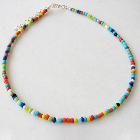 Fashion Bohemian Handmade Rainbow Beads Choker Necklace For Women Girls Boho Beaded Chain Chokers Necklaces Female Jewelry Gift