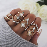 FAMSHIN Vintage Crown Stars Water Drops Midi Ring Set Women Fashion Anillos Heart Crown Knuckle Rings 2019 Boho Jewelry Gift