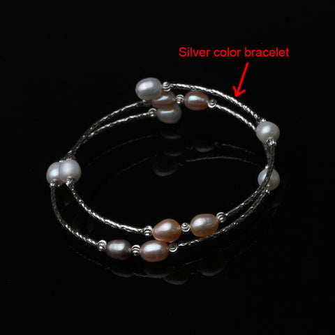 Fashion Natural Freshwater Double Pearl Bracelet For Women, Adjustable Bracelet Girl Birthday Gift