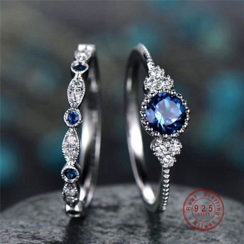 925 Silver Color Women Wedding Ring Set Sparkling Perfect Blue Round Cut Zircon Stone Rings Female Party Engagement Fine Jewelry