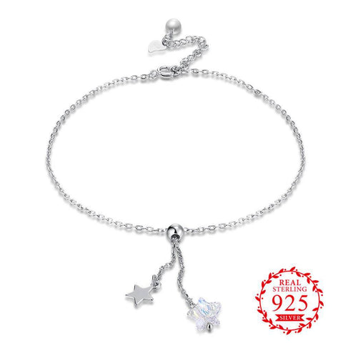 JEMMIN Real Prevailing S90 Silver Color Simple Style Anklet Shining Crystal Cubic Zirconia Store With Star Pearl For Women