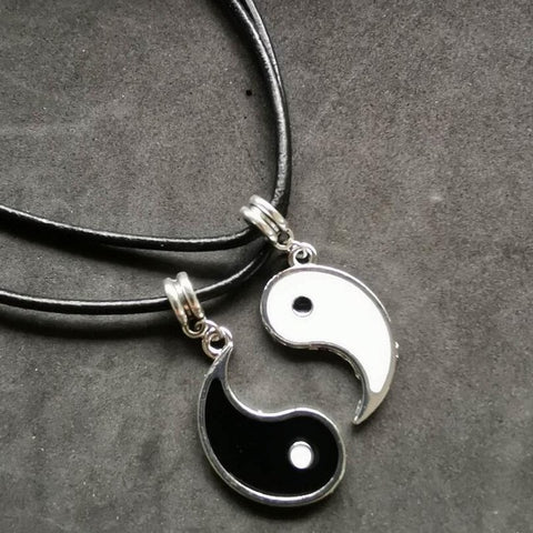 Gossip Tai Chi Yin Yang Necklaces For Women Leather 2 Pendants Share White Black Friendship Couple Christmas Gifts