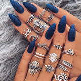 Jewdy Fashion Bohemian Crystal Jewelry 15 Pcs/Lot Rings For Women Antique Silver Vintage Carving Boho Rings Set Women Jewelry