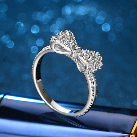 Sparkling AAA 1.2ct  Zirconia Crystal Bowknot Design 925 Sterling Silver Wedding Rings for women Bijoux Fashion Engagement Ring