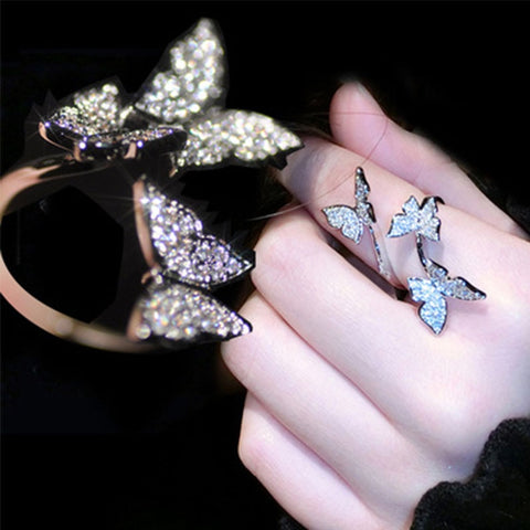 2019 New Fashion Women Rings Jewelry Handmade Shine Cubic Zirconia Butterfly Wings Ring For Bride Wedding Anniversary Bijourx