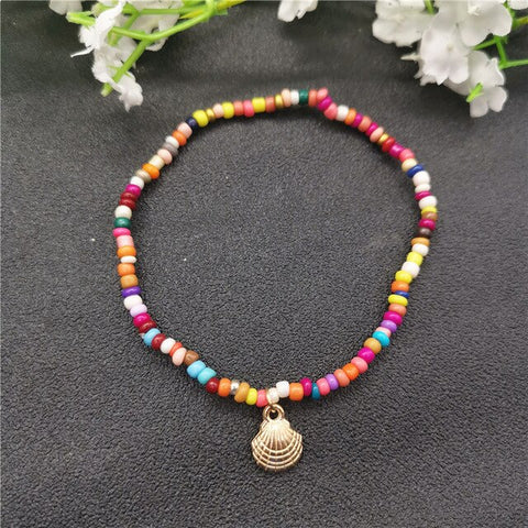 Fashion Colorful Beads Cowrie Shell Anklet for Women Bracelet on The Leg Gold Silver Color Ankle Chain Foot Jewelry
