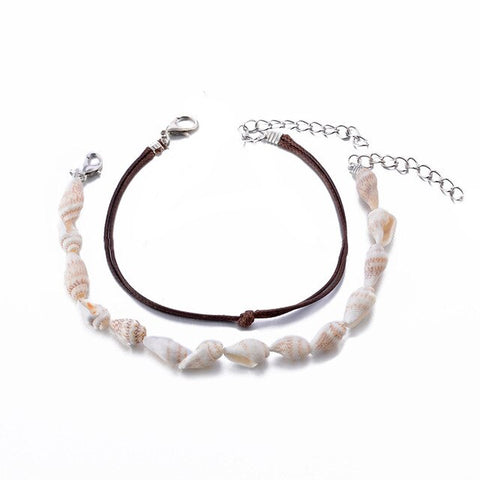 2Pcs/Sets Bohemian Multiple Handmade Natural Conch Beads Anklets For Women Vintage Shell Chain Anklet Bracelet Beach Jewelry
