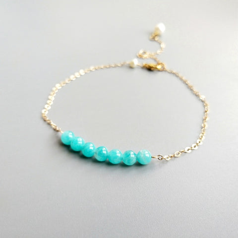 Lii Ji Light Blue Amazonite Freshwater Pearl Real Link Balance Anklet Delicate Jewelry