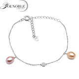 Fashion 925 sterling silver anklet bracelet for women,genuine freshwater pearl bead feet anklet