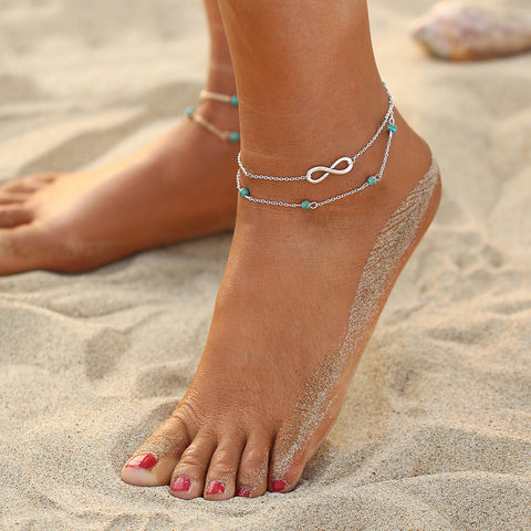 Summer Beach Turquoises Anklets For Women Bohemian Ankle Bracelet Woman Sandals On the Leg Chain Foot Jewelry