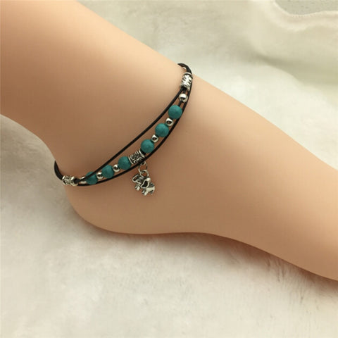 New Leather Chain Ankle Bracelet Beach Jewelry Tibetan Elephant Pendant Green Beads Anklet Foot