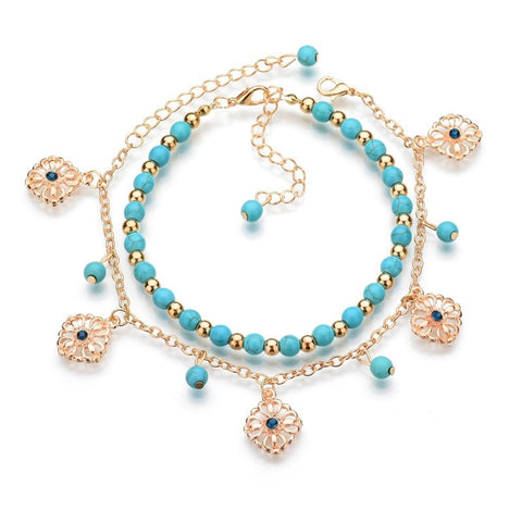 2019 Summer Sexy Gold Chain Foot Chain Turquoises Anklets for Women Love Barefoot Sandals 2-Layer Ankle Bracelets Foot Jewelry