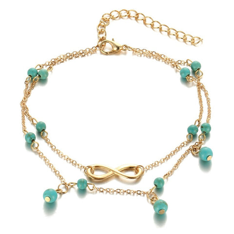 Bohemia Beach Barefoot Dress Up Gold Silver Turquoises Beads Anklet For Women Anklets Fashion Foot Chain Jewelry