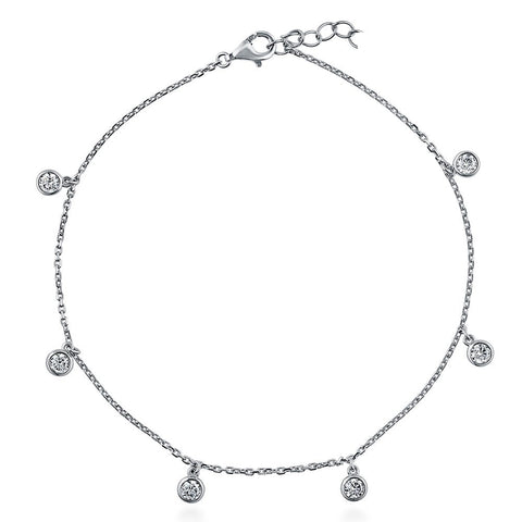 cz drop charm 925 sterling silver bezel Round 3mm cz charm drop chain anklet