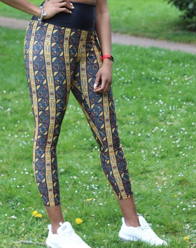 The contrast waist Mudcloth print leggings.