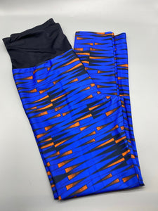 The blue/orange (Black Back Contrast) leggings set