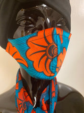 Load image into Gallery viewer, Modern Ankara print satin mask with matching chiffon scarf set